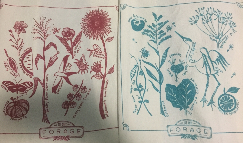 Hand drawn north Florida seasonal critters and plants, screen printed locally at West Side T-shirts.